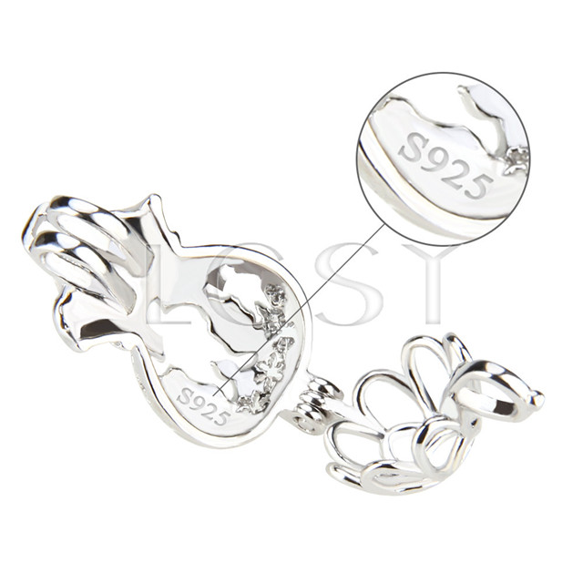 Fashion 925 Sterling Silver Chrismas bag Cage Pendant