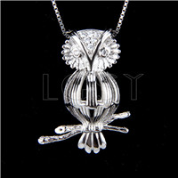 925 Sterling Silver Owl Shape Cage Pendant