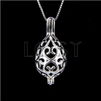 925 Sterling Silver Oval Love Heart Shape Cage Pendant