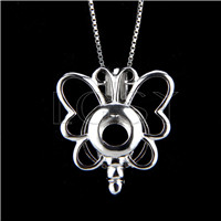 925 Sterling Silver Butterfly Shape Cage Pendant