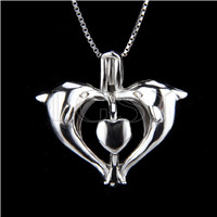 925 Sterling Silver Double Dolphins Shape Cage Pendant