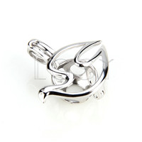 925 Sterling Silver Dove Shape Cage Pendant