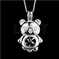 Fashion 925 Sterling Silver bear Cage Pendant