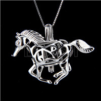 925 Sterling Silver horse Shape Cage Pendant