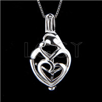 925 Sterling Silver Mother love Shape Cage Pendant