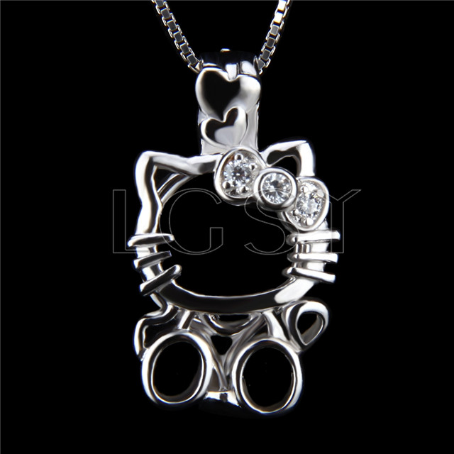 925 Sterling Silver Hello kitty Shape Cage Pendant