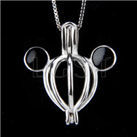 925 Sterling Silver mickey Shape Cage Pendant