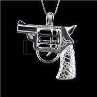925 Sterling Silver Gun Shape Cage Pendant