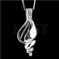 925 Sterling Silver conch Shape Cage Pendant