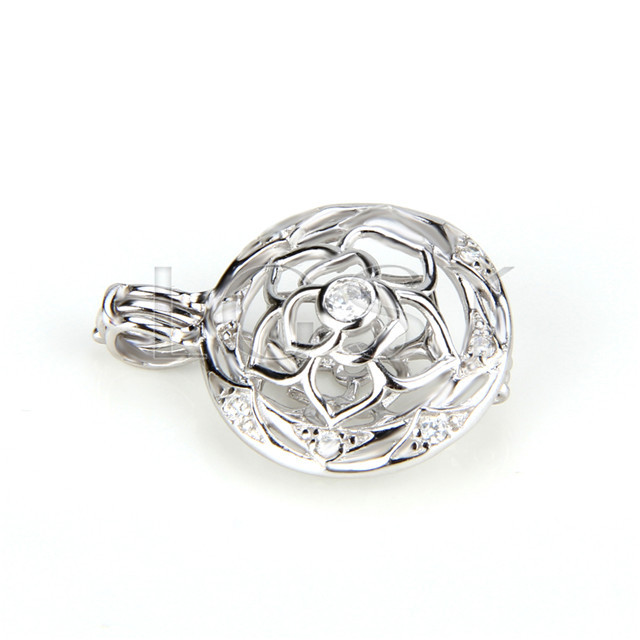 Fashion 925 Sterling Silver round flower Cage Pendant