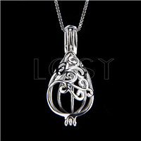 925 Sterling Silver Free-Mason Shape Cage Pendant