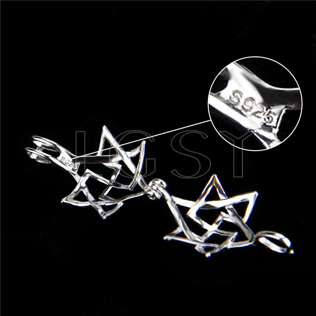 925 Sterling Silver Hexagram Shape Cage Pendant