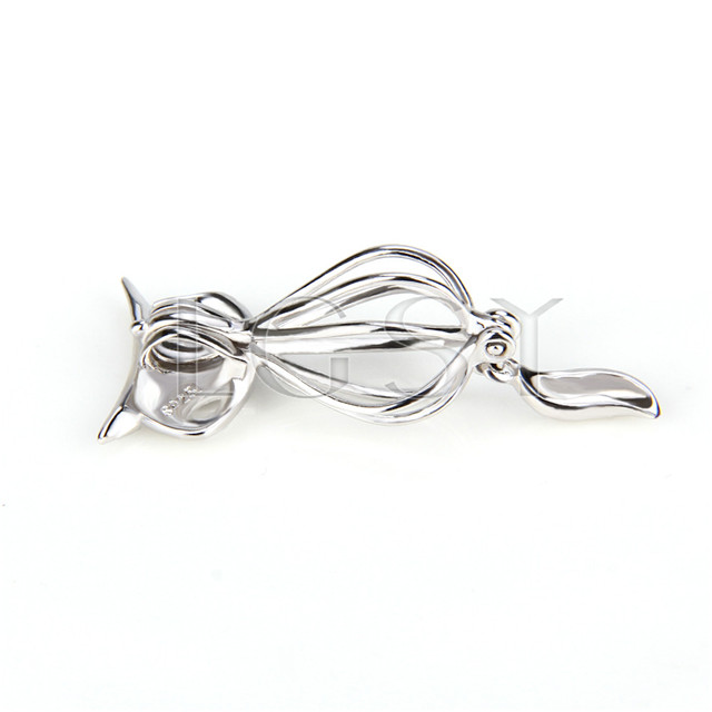 925 Sterling Silver fox Shape Cage Pendant