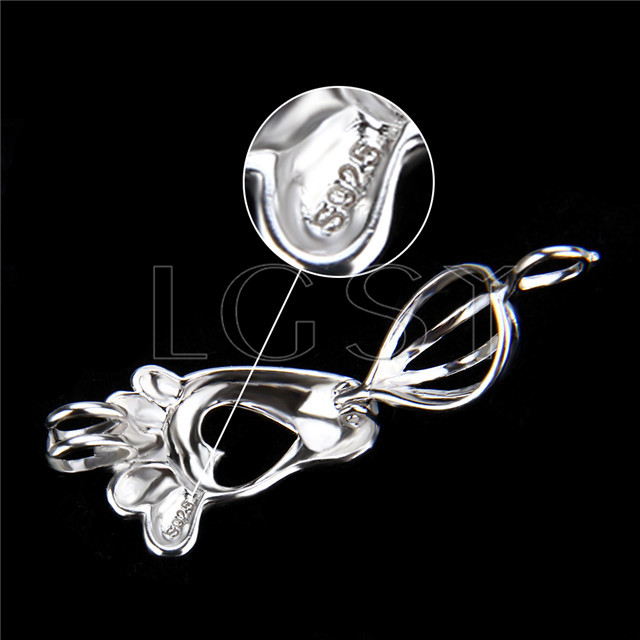 925 Sterling Silver sole Shape Cage Pendant