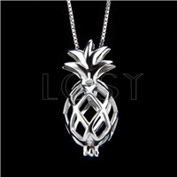 925 Sterling Silver pineapple Shape Cage Pendant