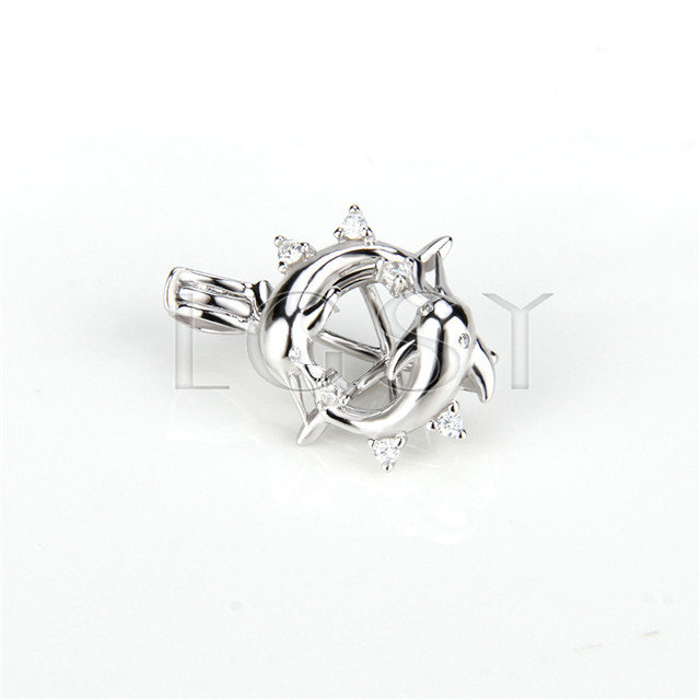 925 Sterling Silver Double dolphin with zicon Shape Cage Pendant