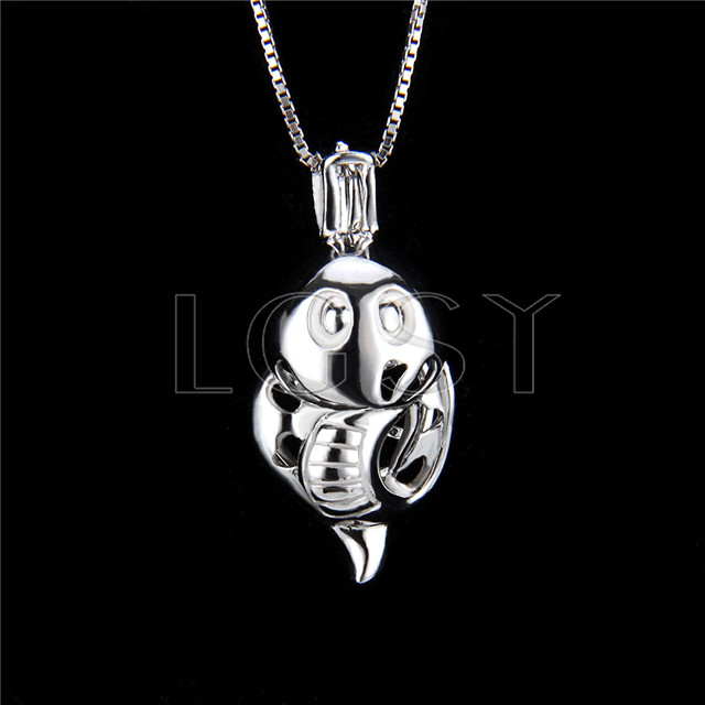 925 Sterling Silver Snake Shape Cage Pendant