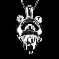 Fashion 925 Sterling Silver Dancing pig Cage Pendant