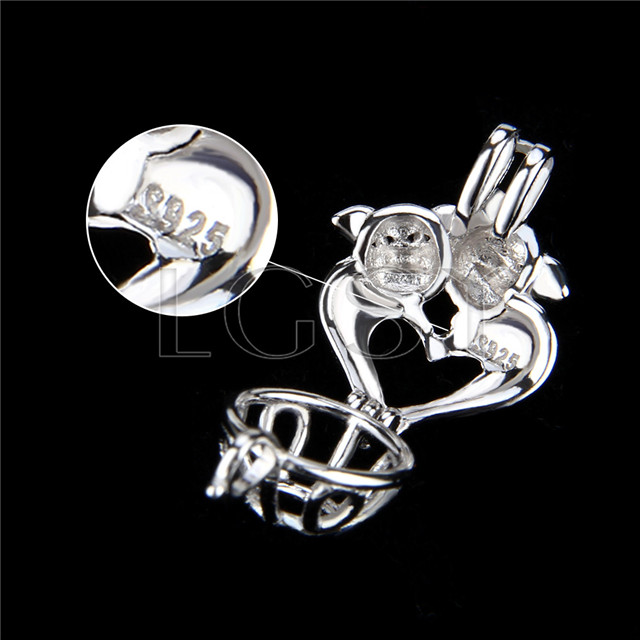 925 Sterling Silver pigs&#39love Shape Cage Pendant