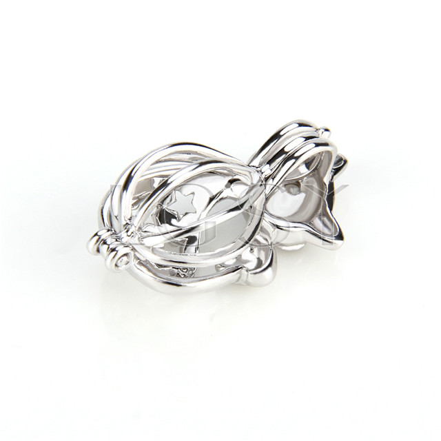 925 Sterling Silver lovely cat Shape Cage Pendant