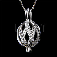 Fashion 925 Sterling Silver twisted Cage Pendant