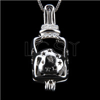 Fashion 925 Sterling Silver Wishing bottle Cage Pendant