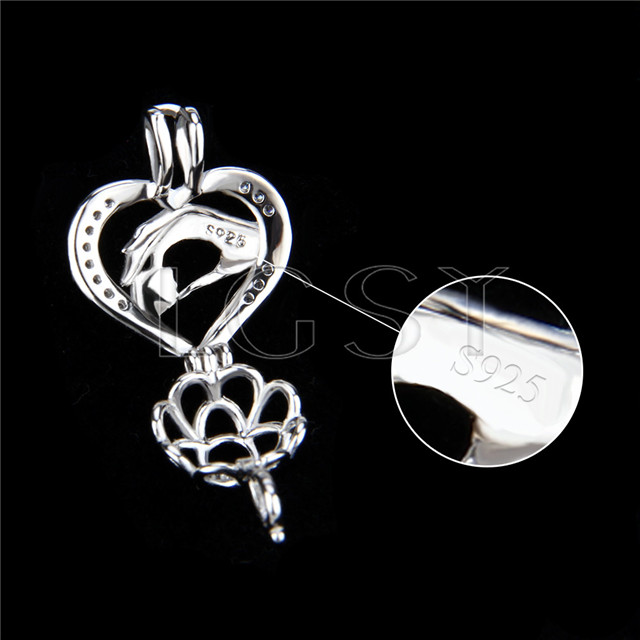 925 Sterling Silver hand by hand Shape Cage Pendant