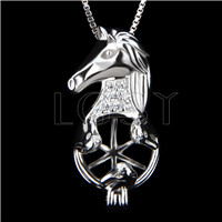 Fashion 925 Sterling Silver Horse head Cage Pendant