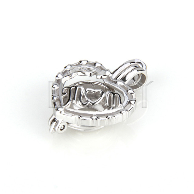 925 Sterling Silver best mom Shape Cage Pendant