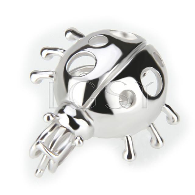 Fashion 925 Sterling Silver Ladybug Cage Pendant