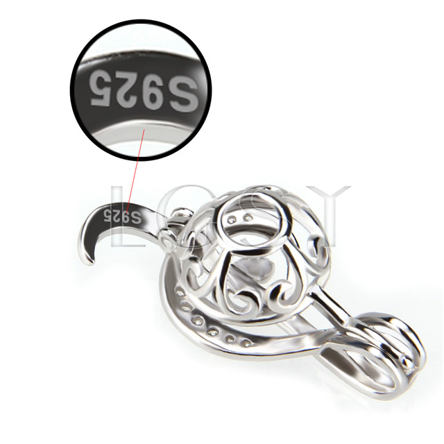 Fashion 925 Sterling Silver Music Note Cage Pendant