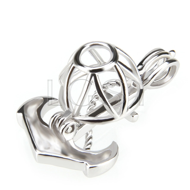 Fashion 925 Sterling Silver Anchor Cage Pendant
