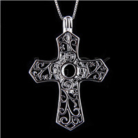 Fashion 925 Sterling Silver Cross Cage Pendant