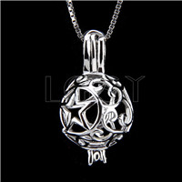 Fashion 925 Sterling Silver Star ball Cage Pendant