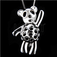 Fashion 925 Sterling Silver Fly bear Cage Pendant