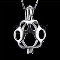Fashion 925 Sterling Silver Bear paw Cage Pendant