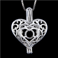 Fashion 925 Sterling Silver Heart design Cage Pendant
