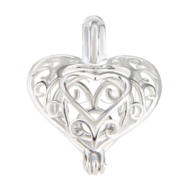 Fashion 925 Sterling Silver Heart design Cage Pendant