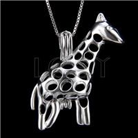 Fashion 925 Sterling Silver Giraffe Cage Pendant