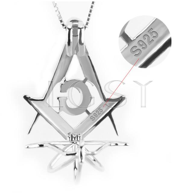 Fashion 925 Sterling Silver Free-Mason Cage Pendant