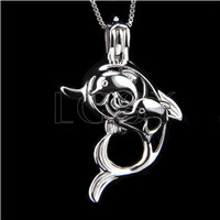 Fashion 925 Sterling Silver Dolphin mother and kids Cage Pendant