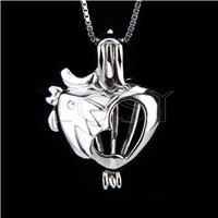 Fashion 925 Sterling Silver Rooster Cage Pendant