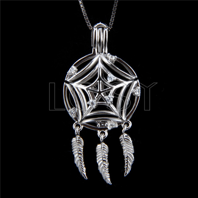 Fashion 925 Sterling Silver Dream catcher Cage Pendant
