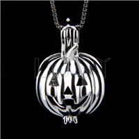 Fashion 925 Sterling Silver Pumpkin Cage Pendant