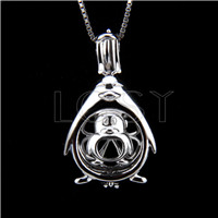 Fashion 925 Sterling Silver Penguin Cage Pendant