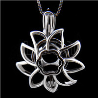 Latest 925 Sterling Silver Sunflower Cage Pendant