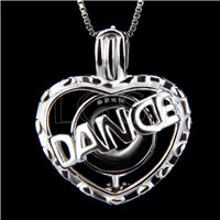 Latest 925 Sterling Silver Dance Heart Cage Pendant