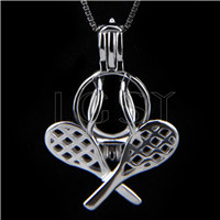 Latest 925 Sterling Silver Tennis Racket Cage Pendant
