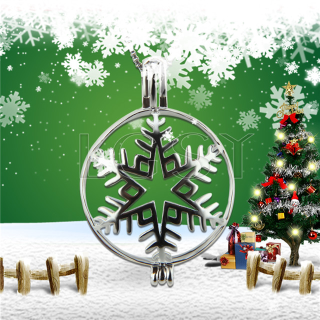 Christmas theme 925 Sterling Silver Snowflake Cage Pendant