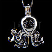 Fashion 925 Sterling Silver happy Octopus Cage Pendant